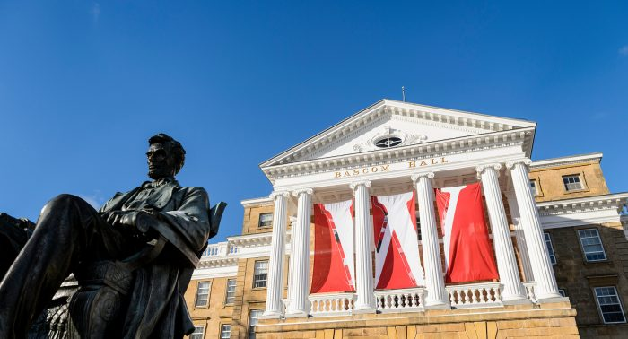 W banners hang on Bascom Hall columns