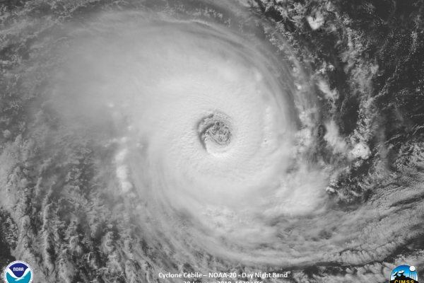 image of Cyclone Cebile taken by NOAA on Jan. 30, 2018.