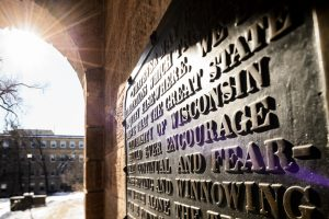 Sift and Winnow plaque on Bascom Hall. Photo by Jeff Miller