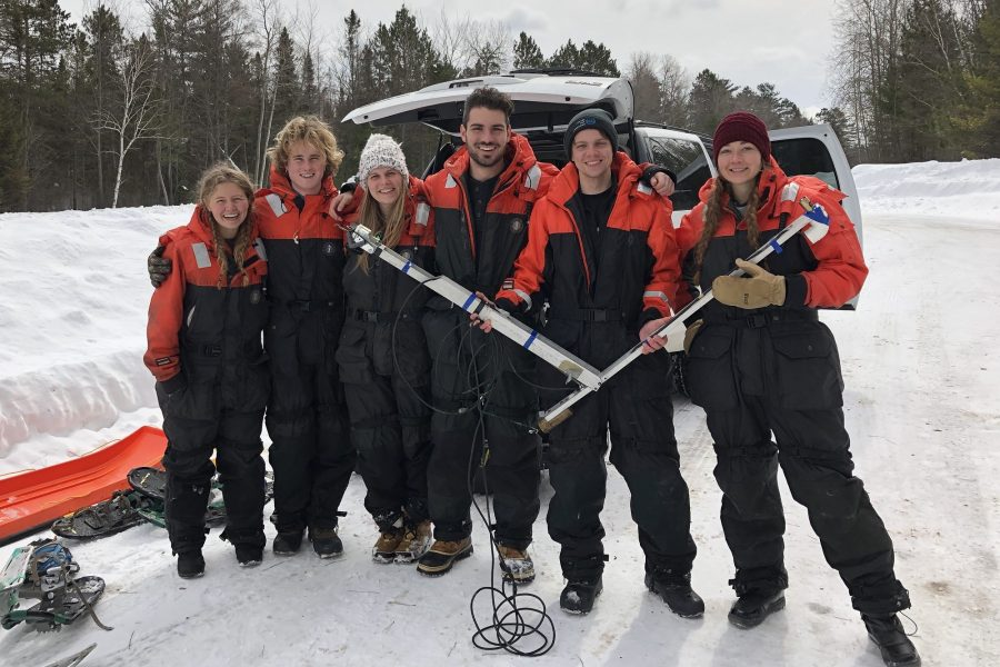 UW students at Trout Lake Research Station in winter