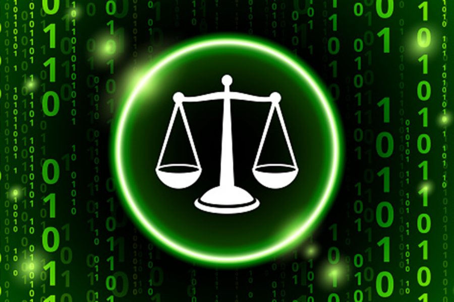 Justice Balance Binary Code Vector Pattern Background. The white icons is in the center of the image and is rendered on top of a circular shape with a glowing green outline. The rest of the image is filled with a binary code background. The numbers zero and one alternate and are of various sizes and shades of the green color. There is a sense of vertical motion in this image, The background color is black.