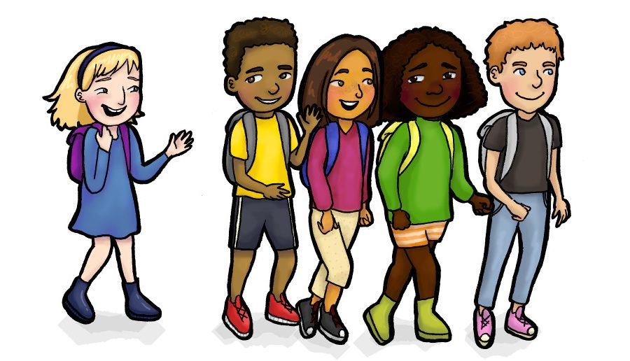CREDIT: Maddy Henkel. Kids walking together graphic